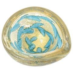 Barovier e Toso Murano Gold Aventurine and Turquoise Glass Bowl Midcentury