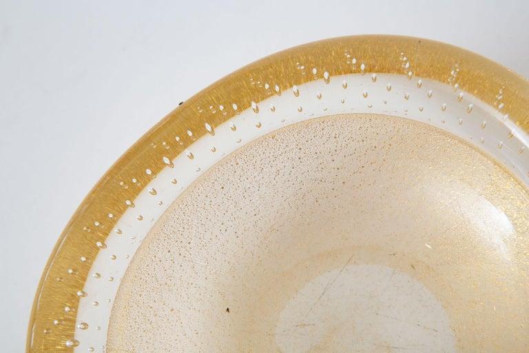 Italian Barovier et Toso Murano Gold Aventurine Glass Bowl Vintage