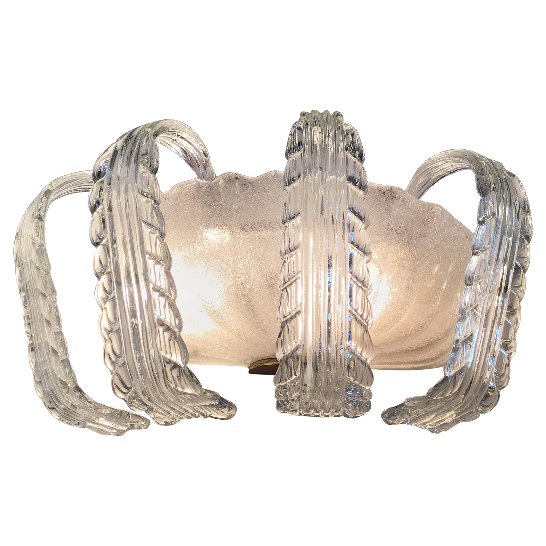 Barovier e Toso Sconces Murano Glass Brass, 1940, Italy