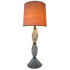 Barovier & Toso Table Lamp Murano Glass Brass Fabric Lampshade, 1940, Italy