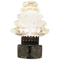 """Barovier e Toso Table Lamp """"Orecchiette"""" Murano Glass Metal Crome 1940 Italy"""