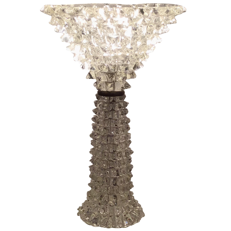 """Barovier e Toso Table Lamp """"Rostrato"""" Murano Glass  brass 1940 Italy"""