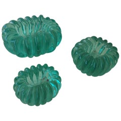 Barovier Emerald Green Jewel-Like Murano Bowls, Set of 3