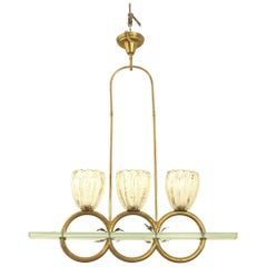 Barovier Et Toso Italian Mid-Century Glass and Brass Ring Chandelier