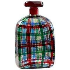 "Barovier for Christian Dior Paris ""Tartan"" Murano Glass Bottle with Stopper"