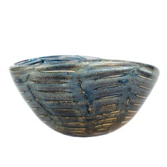 Barovier Graffite Blue and Gold Murano Glass Bowl