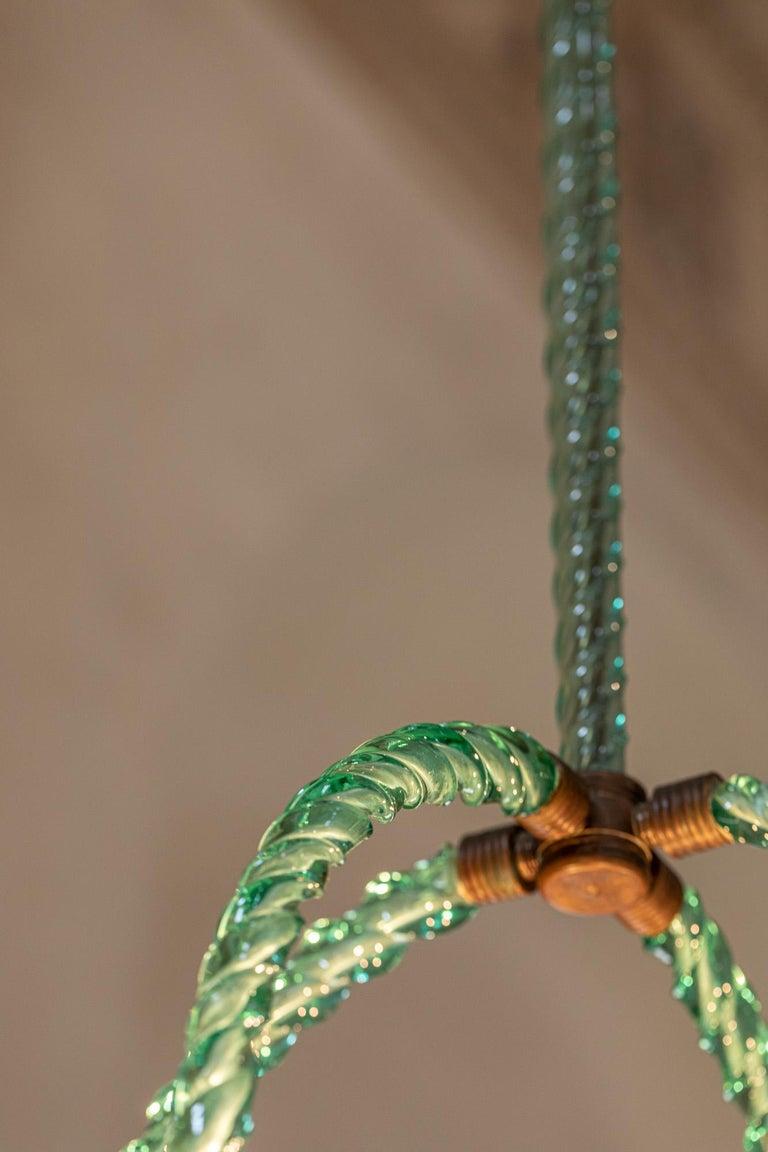 Barovier Green Hand Blown Murano Glass Chandelier For Sale 4