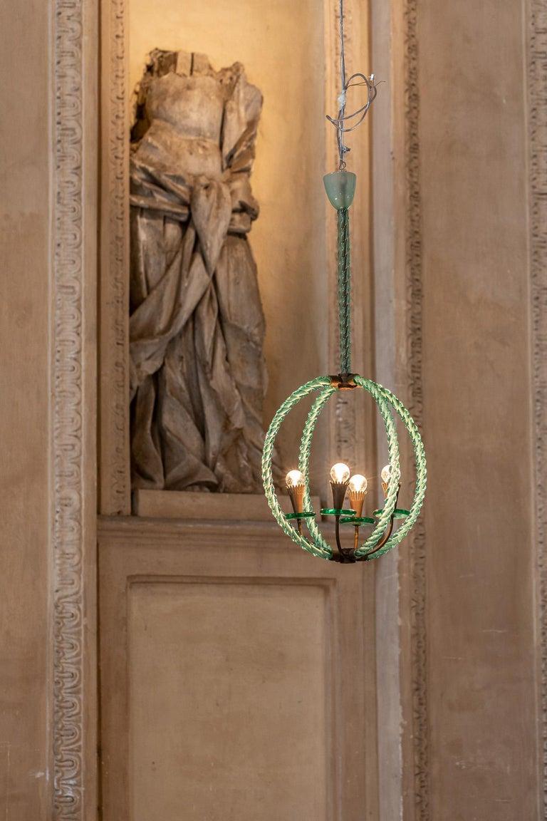 Mid-Century Modern Barovier Green Hand Blown Murano Glass Chandelier For Sale