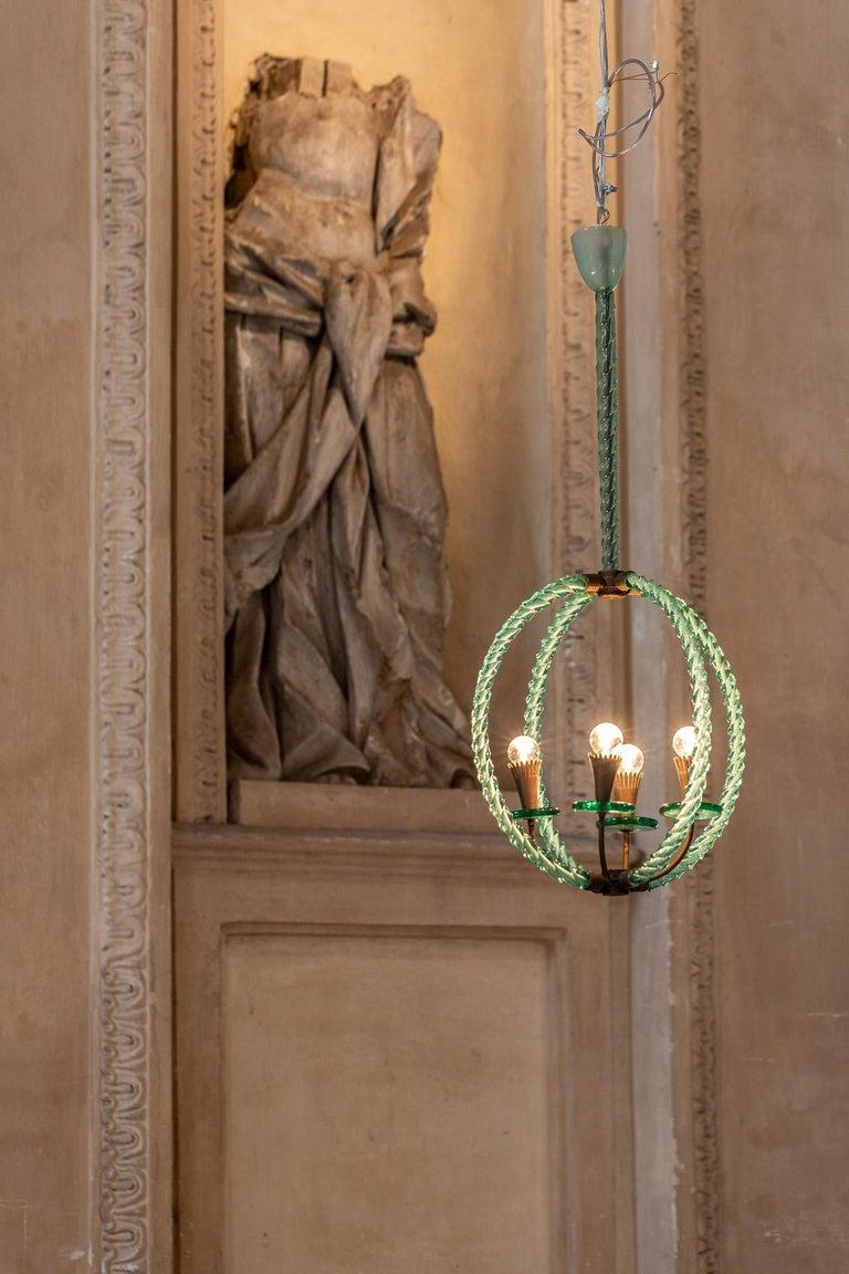 Italian Barovier Green Hand Blown Murano Glass Chandelier For Sale