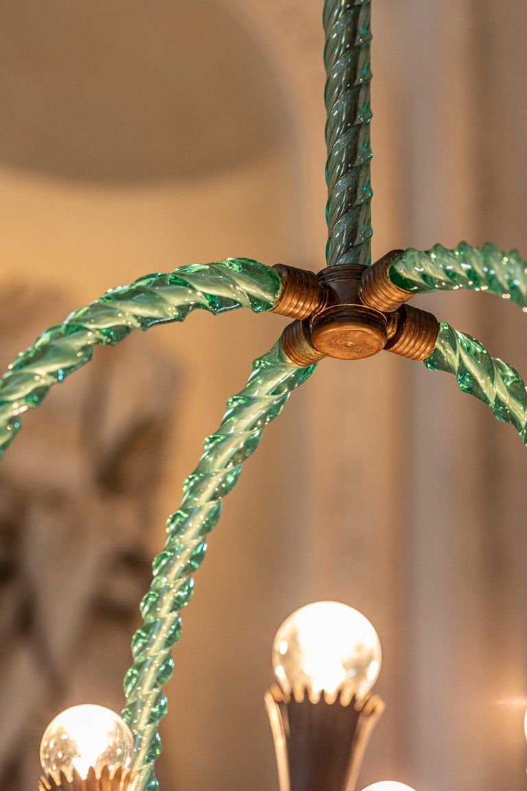 Barovier Green Hand Blown Murano Glass Chandelier In Excellent Condition For Sale In Carpaneto Piacentino, Italy