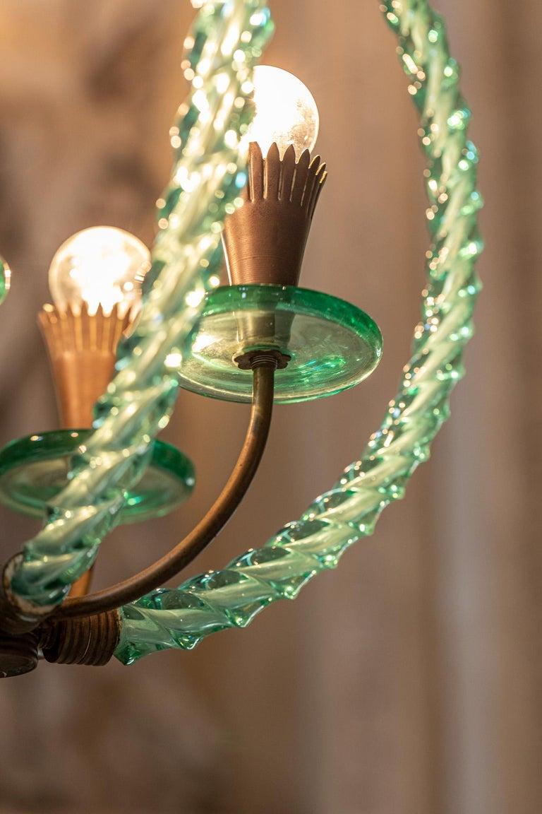Barovier Green Hand Blown Murano Glass Chandelier For Sale 1