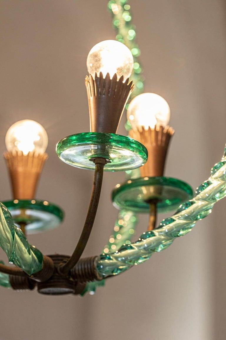 Barovier Green Hand Blown Murano Glass Chandelier For Sale 3