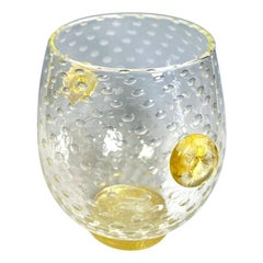 "Barovier Hand Blown ""Bullicante"" Vase w/ Gold Leaf Inclusions Controlled Bubbles"