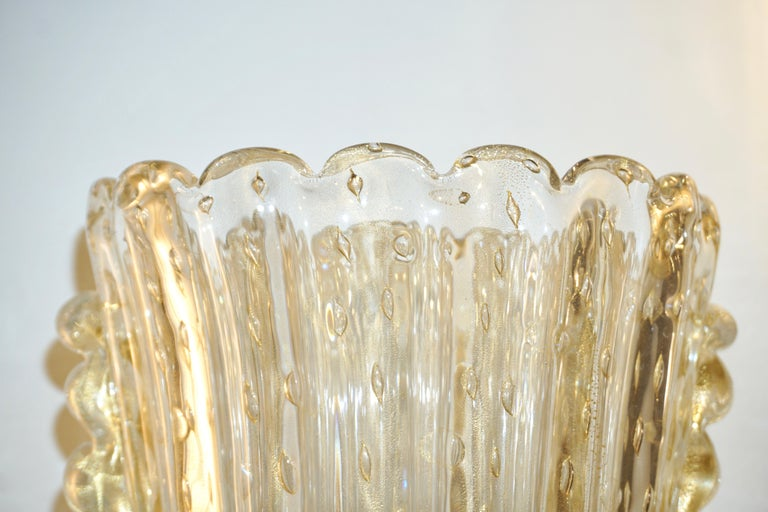 Barovier Italian Art Deco Design Crystal Gold Leaf Murano Glass Bowl Sconces For Sale 4