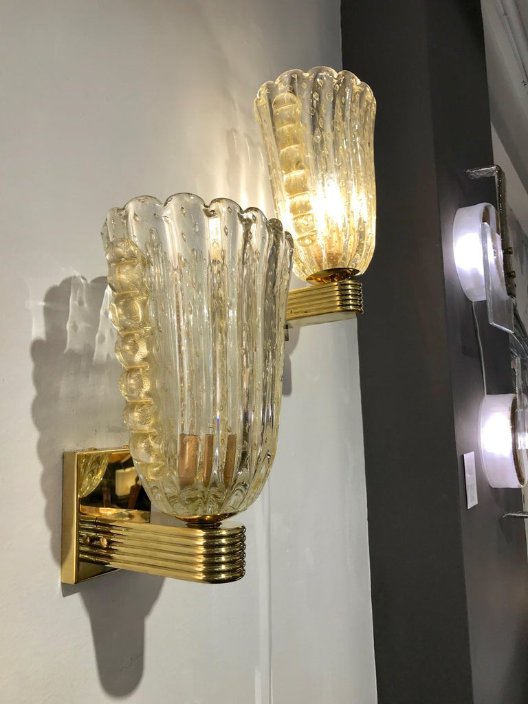 Mid-Century Modern Barovier Italian Art Deco Design Crystal Gold Leaf Murano Glass Bowl Sconces For Sale