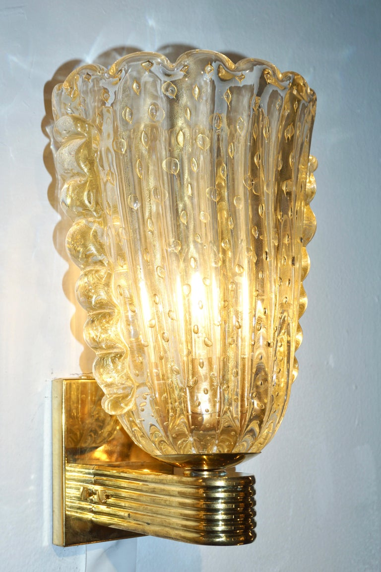20th Century Barovier Italian Art Deco Design Crystal Gold Leaf Murano Glass Bowl Sconces For Sale