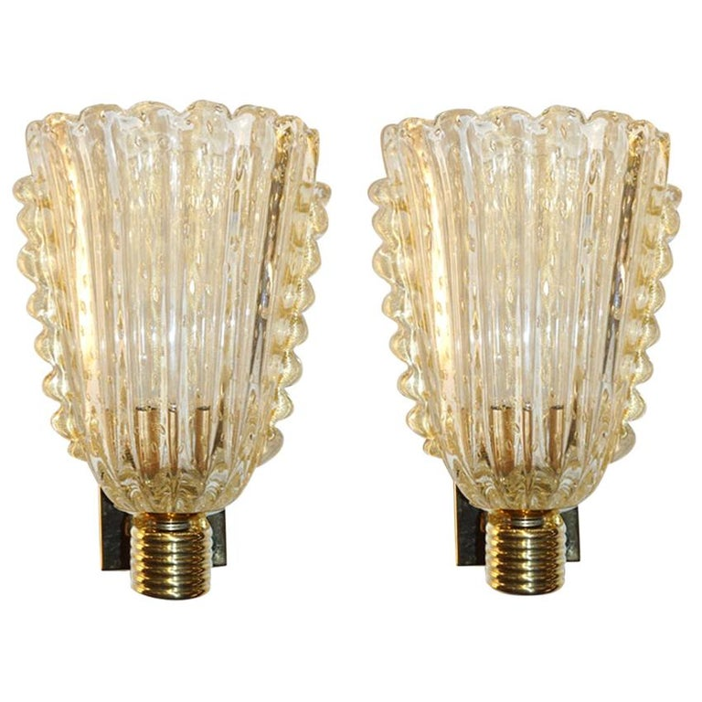 Barovier Italian Art Deco Design Crystal Gold Leaf Murano Glass Bowl Sconces For Sale