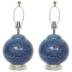 Barovier Midnight Blue Murano Glass Table Lamps