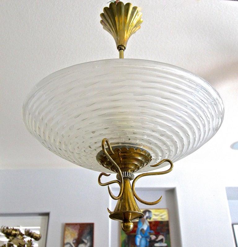 Barovier Murano Glass Brass Chandelier or Pendant  For Sale 4
