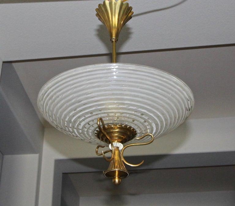 Barovier Murano Glass Brass Chandelier or Pendant  For Sale 9