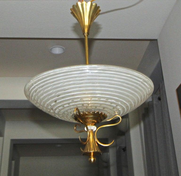 Italian Barovier Murano Glass Brass Chandelier or Pendant  For Sale