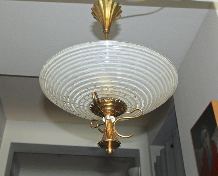 Barovier Murano Glass Brass Chandelier or Pendant  In Good Condition For Sale In Palm Springs, CA
