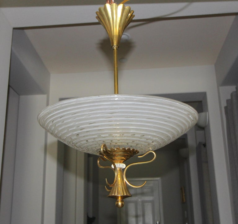 Mid-20th Century Barovier Murano Glass Brass Chandelier or Pendant  For Sale