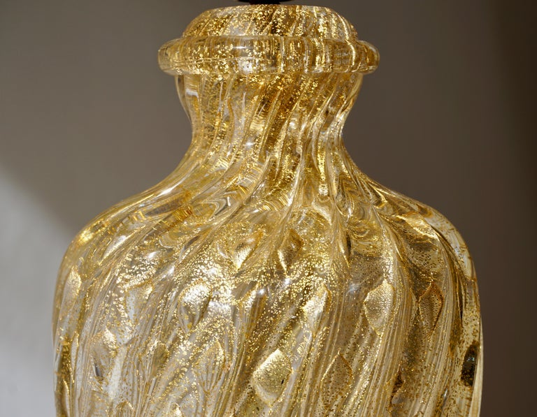 Barovier Murano Gold Twisted Glass Table Lamp In Good Condition For Sale In Antwerp, BE