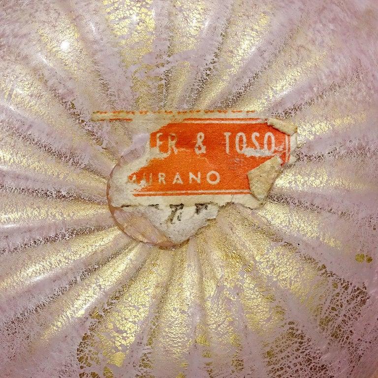 Blown Glass Barovier Murano Pink Gold Fleck Italian Art Glass Vanity Jewelry Trinket Box Jar For Sale