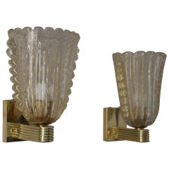 Barovier Murano Pulegoso Gold Glass Sconces