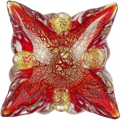 Barovier Murano Red Berry Decoration Gold Flecks Italian Art Glass Spike Bowl