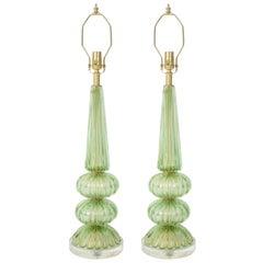 Barovier Spring Green Murano Lamps