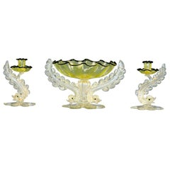 Barovier Three-Piece Centerpiece Set With Candlesticks