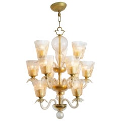 Barovier & Toso 12-Arm Chandelier with Gold Inclusions