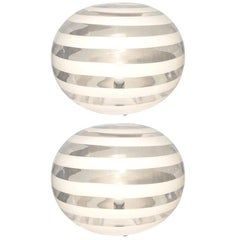 Barovier Toso 1960s Pair of Crystal Clear and White Murano Glass Round Lamps