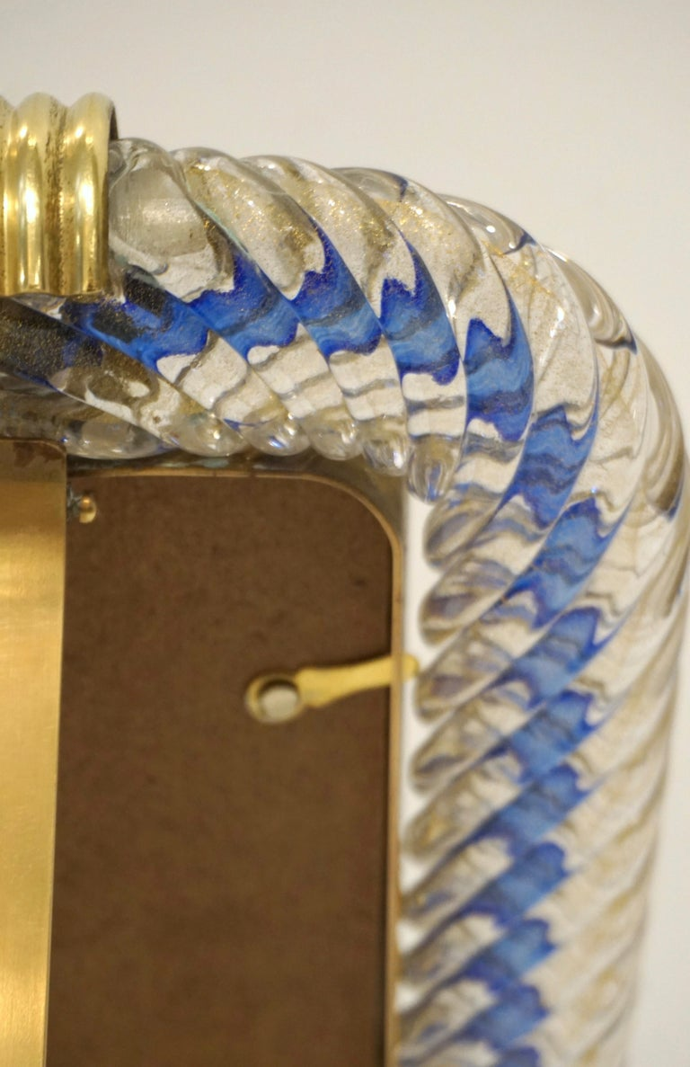 Barovier Toso 1970s Vintage Navy Blue and Gold Murano Glass Photo Frame For Sale 3