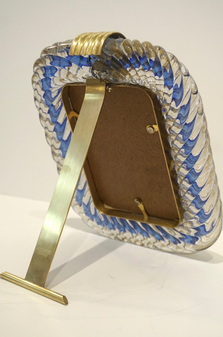Barovier Toso 1970s Vintage Navy Blue and Gold Murano Glass Photo Frame In Excellent Condition For Sale In New York, NY