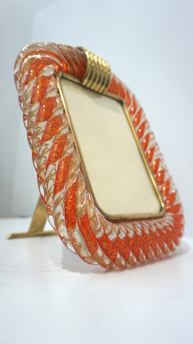 Mid-Century Modern Barovier Toso 1970s Vintage Red Orange and Gold Murano Glass Photo Frame