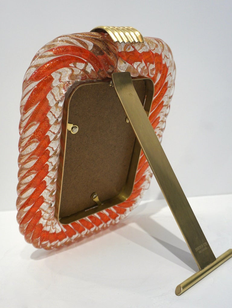 Hand-Crafted Barovier Toso 1970s Vintage Red Orange and Gold Murano Glass Photo Frame