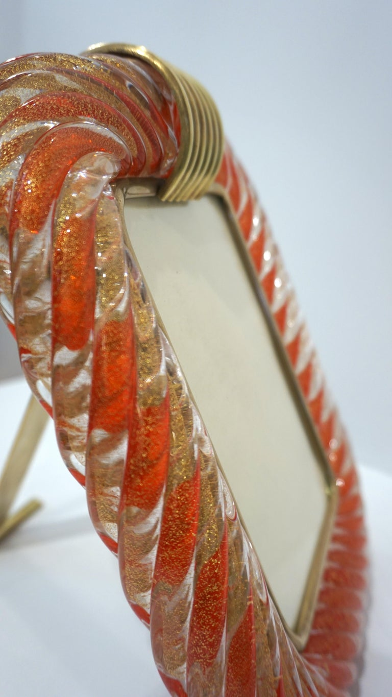 Late 20th Century Barovier Toso 1970s Vintage Red Orange and Gold Murano Glass Photo Frame