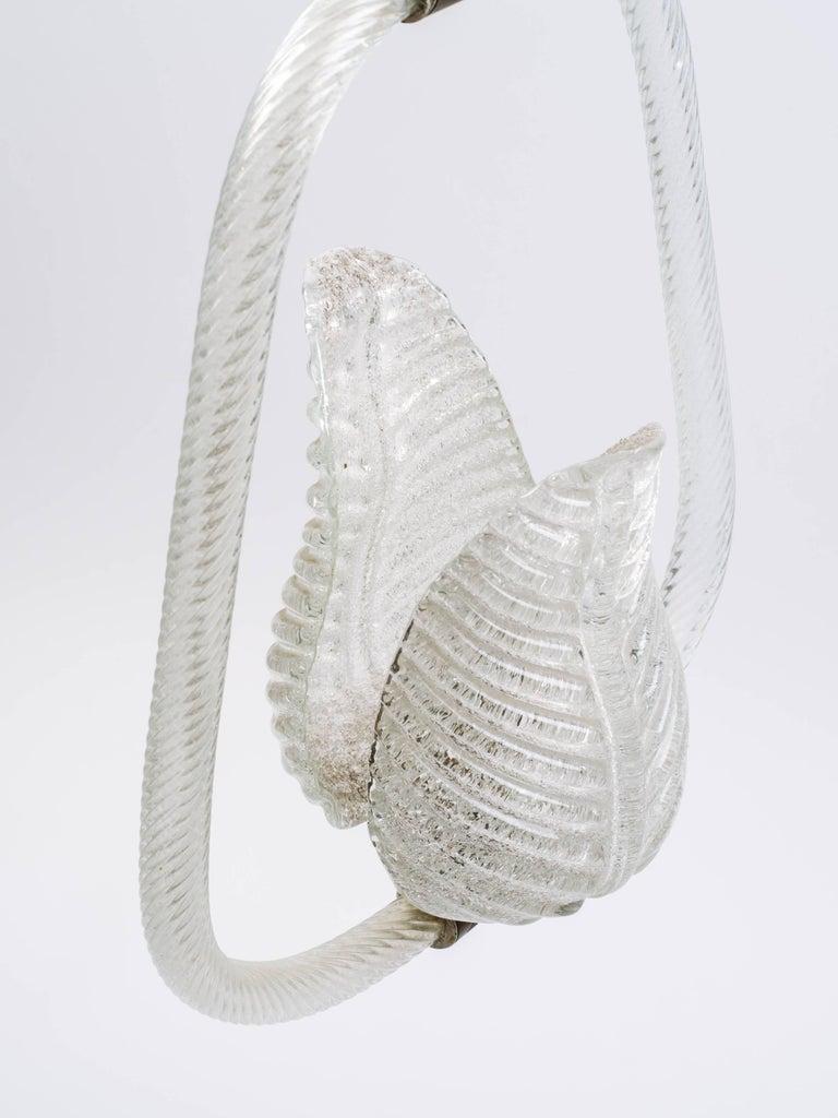 Barovier & Toso Art Deco Murano Glass Pendant Light with Leaf Design circa 1940s For Sale 4