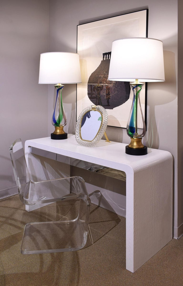 Barovier & Toso Attributed Pair of Handblown Table Lamps, 1950s In Excellent Condition For Sale In New York, NY