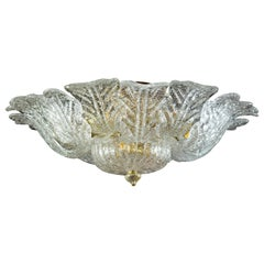 Barovier & Toso Brass Frame Murano Glass Ceiling Light or Flushmount
