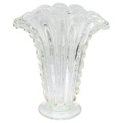 Barovier & Toso Bullicante Clear and Gold Foil Murano Glass Fan Flower Vase