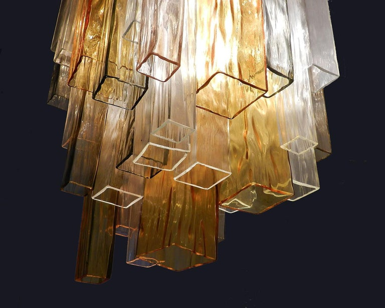 Barovier & Toso Murano Venini rare four-color glass chandelier stunning and impressive with its original label on the top of flush mount, Barovier and Toso. We understand that this came from an Hotel in Monaco that was being re furbished. Flush