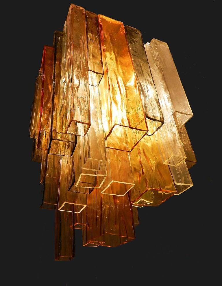 Mid-Century Modern Barovier & Toso Chandelier Venini Four-Color Glass Flush Mount Ceiling Light For Sale