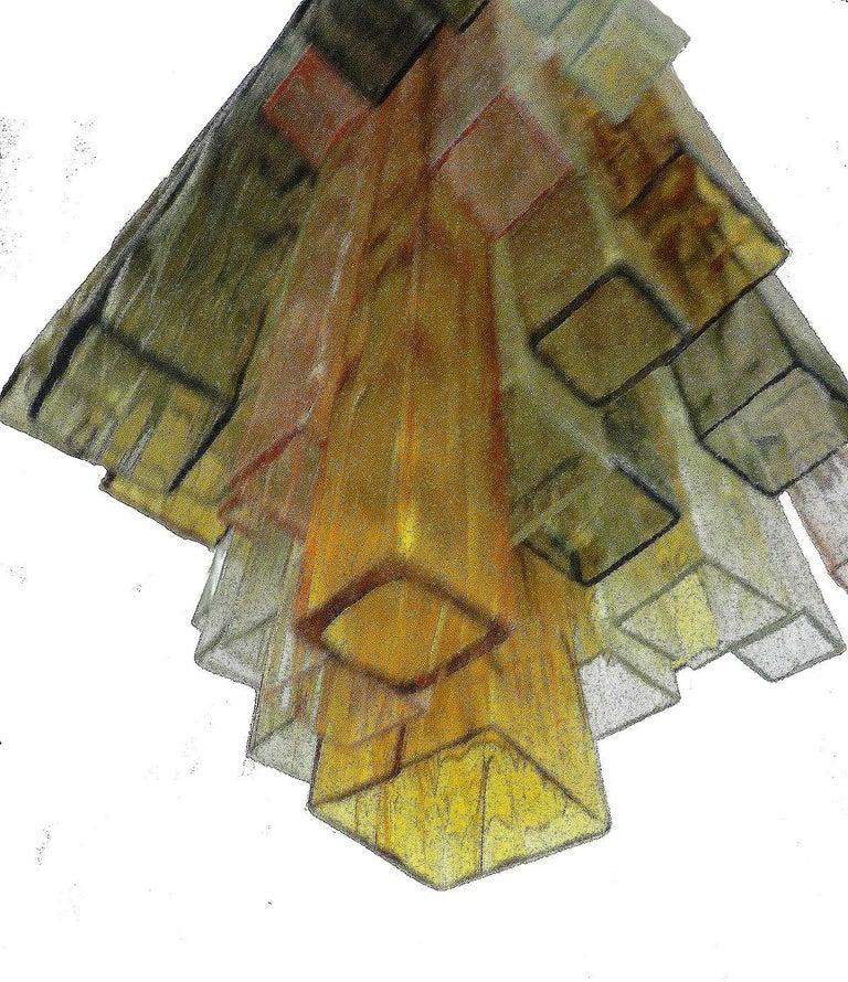 20th Century Barovier & Toso Chandelier Venini Four-Color Glass Flush Mount Ceiling Light For Sale
