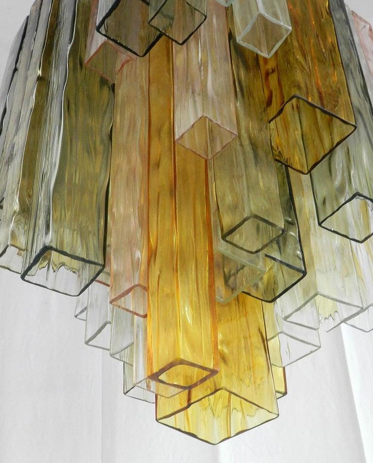 Barovier & Toso Chandelier Venini Four-Color Glass Flush Mount Ceiling Light For Sale 1