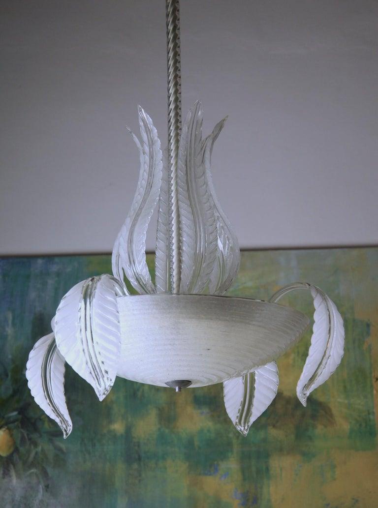 Barovier Toso Chandelier, White Crucible Puligoso, Murano Glass, Deco 1930s 3
