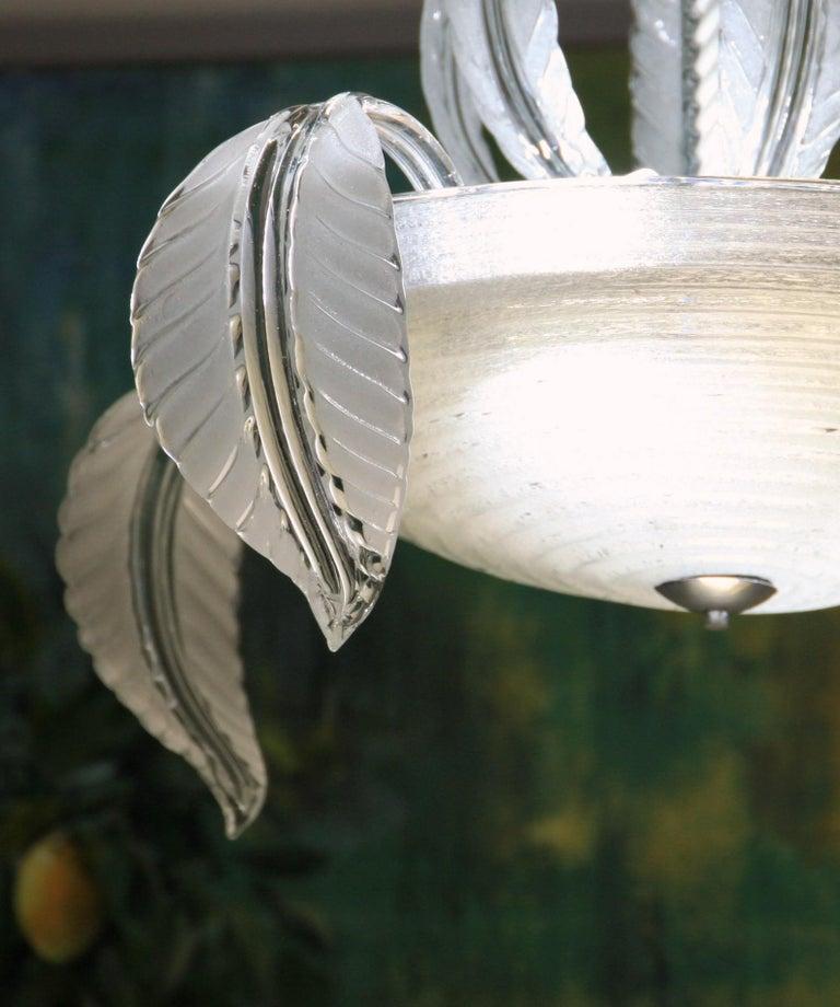 Barovier Toso Chandelier, White Crucible Puligoso, Murano Glass, Deco 1930s 6